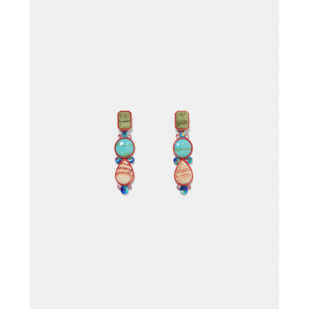 Zara Geometric Earrings With Red