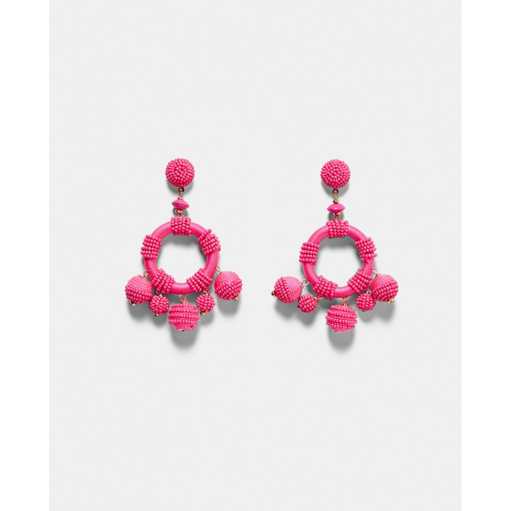 Zara Pink Beaded Circular Earrings