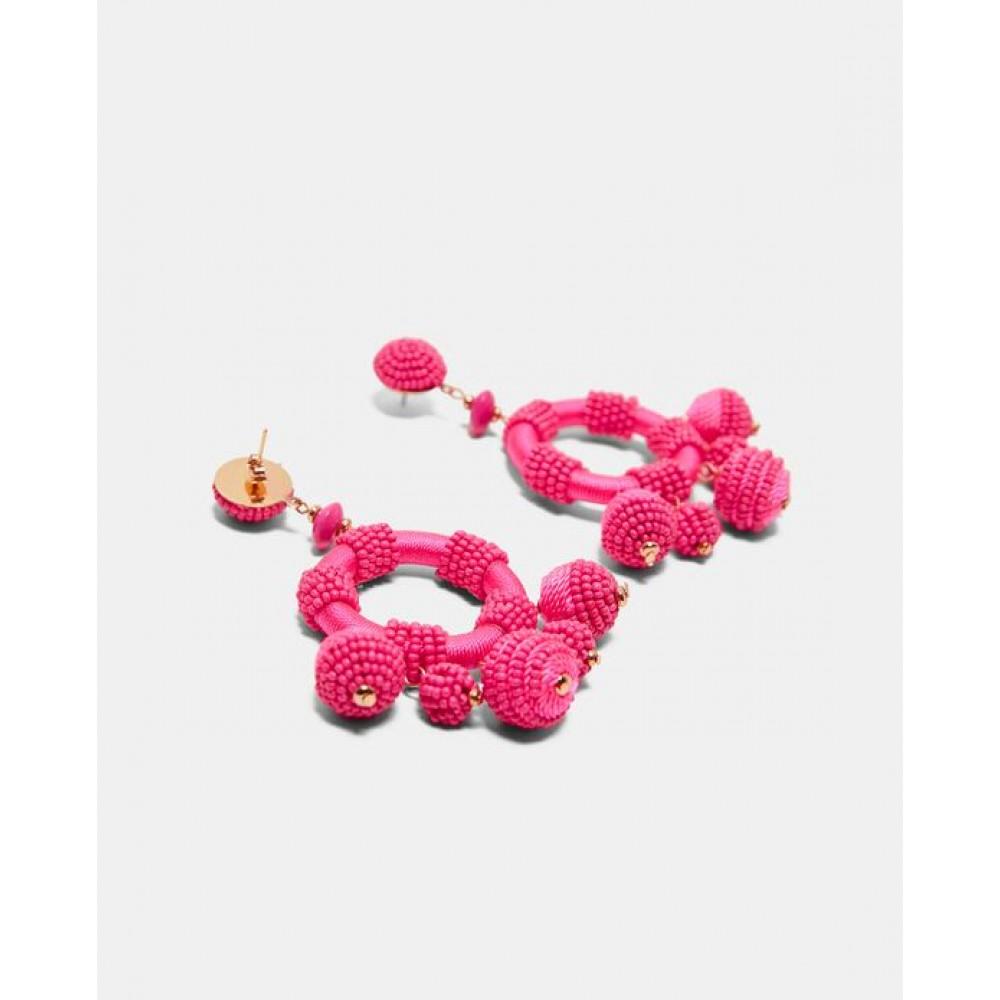 Zara Pink Beaded Circular Earrings