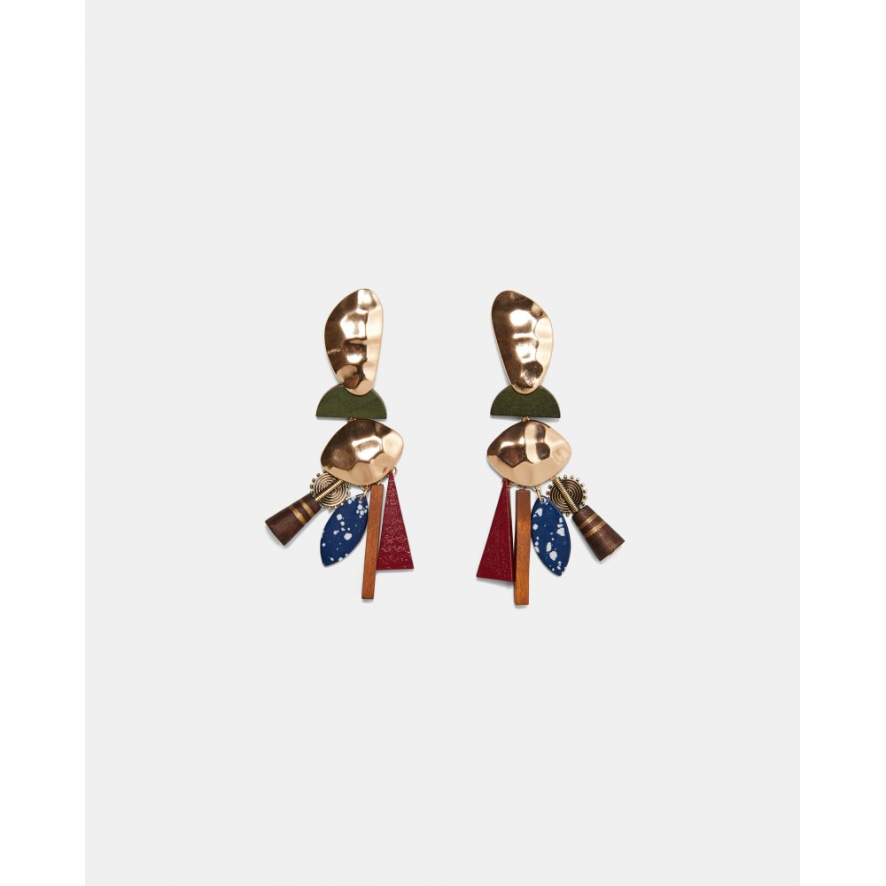 Zara Metal And Wood Earrings