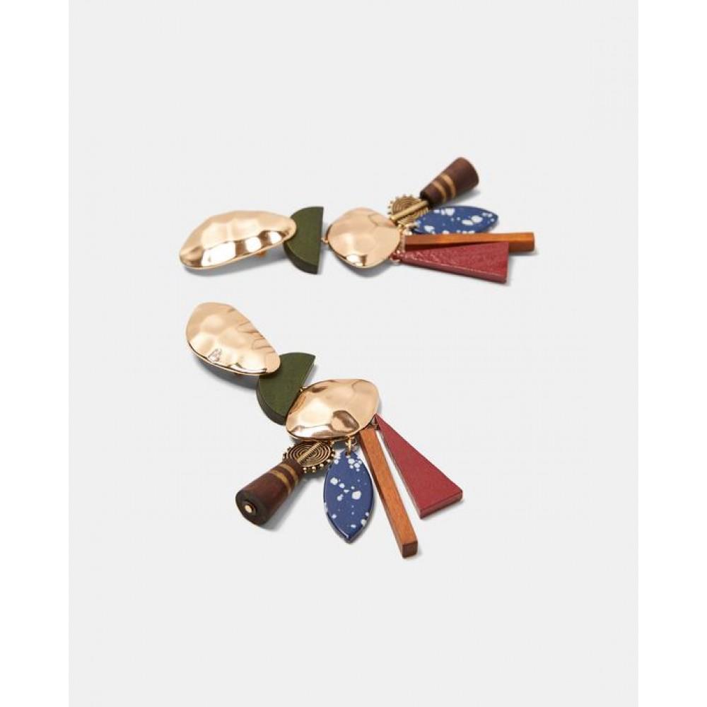 Zara Metal And Wood Earrings