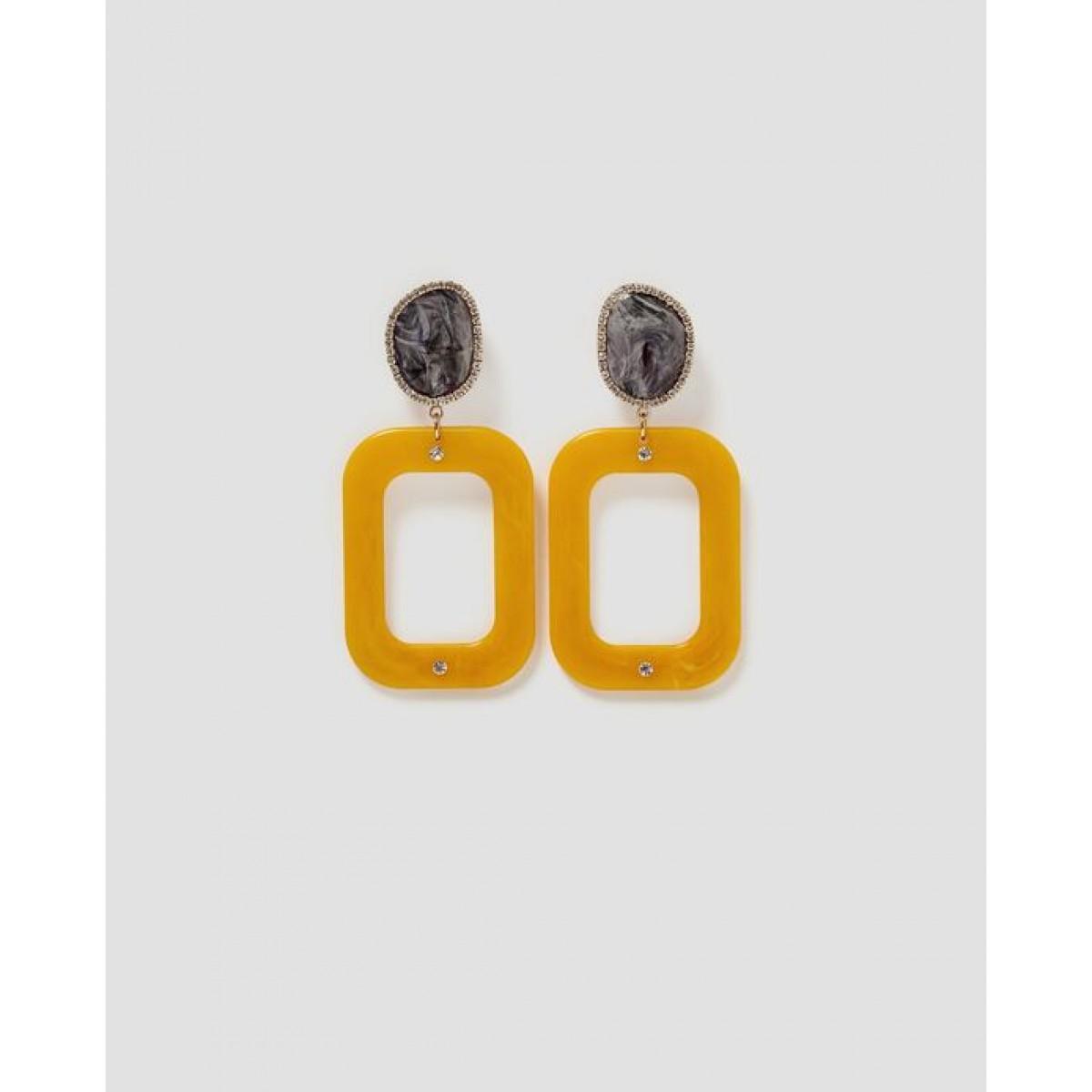 Zara Gold N Black Vintage-Style Earrings
