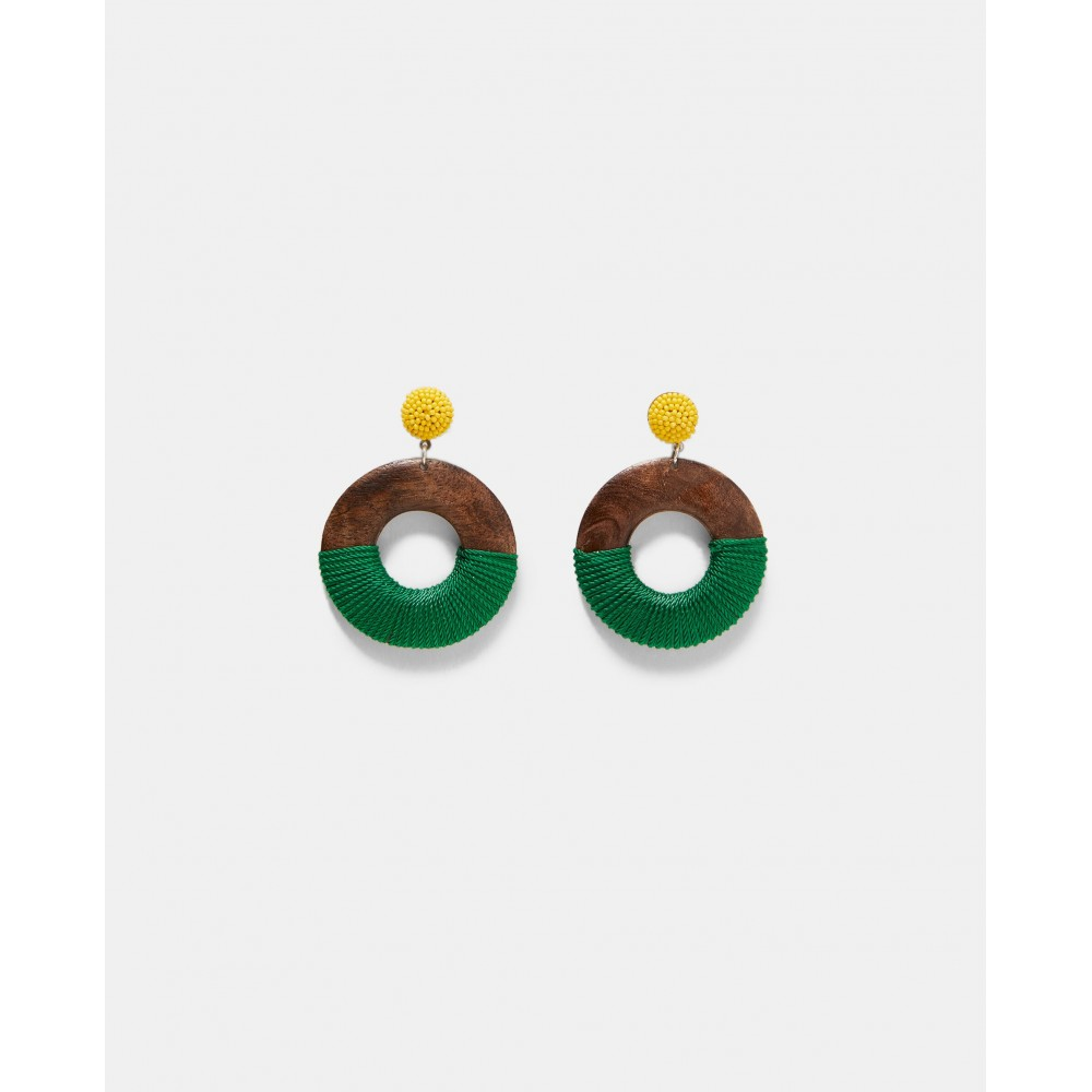 Zara Wooden Earrings With Thread Detail