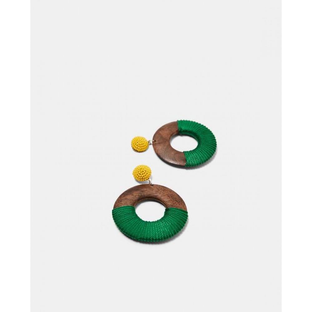 Zara Wooden Earrings With Thread Detail
