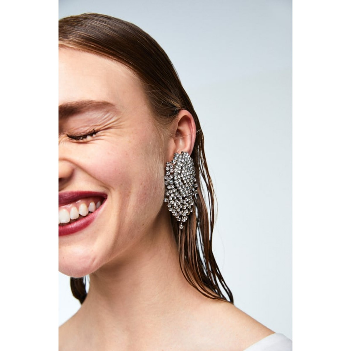 Zara Diamante Earrings With Tassels