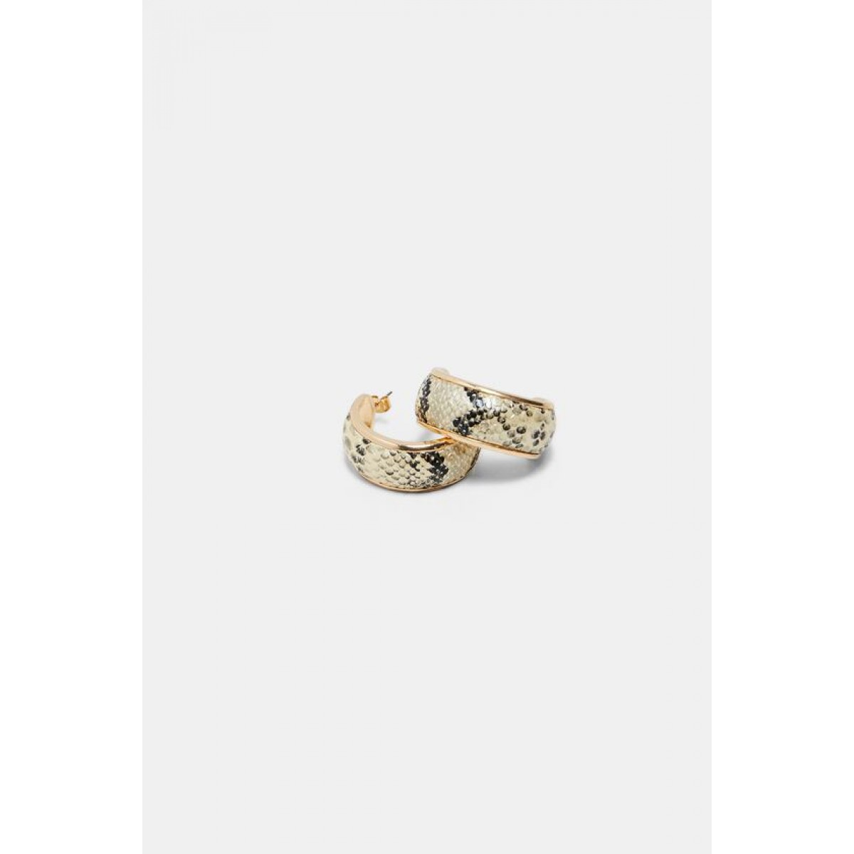Zara Faux Snakeskin Print Hoop Earrings