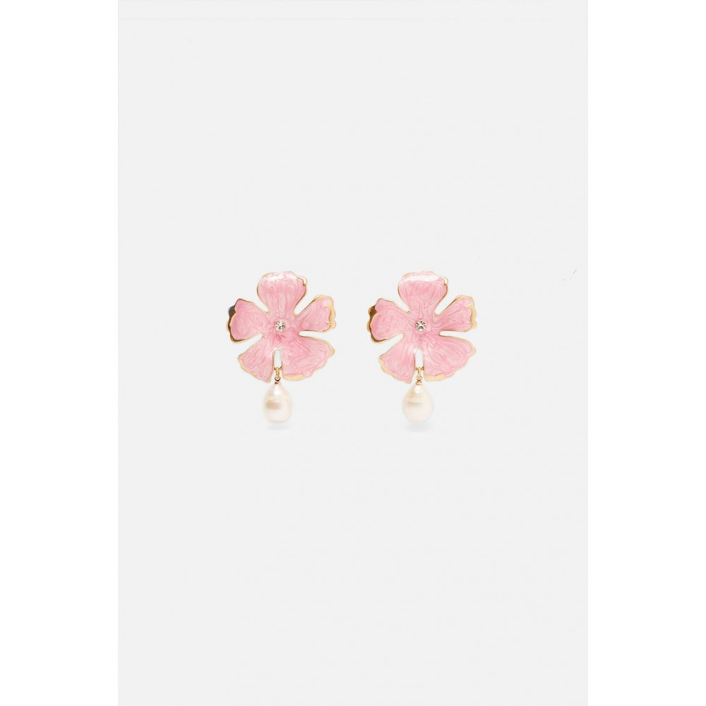 Zara Flower Earrings With Pearl Detail