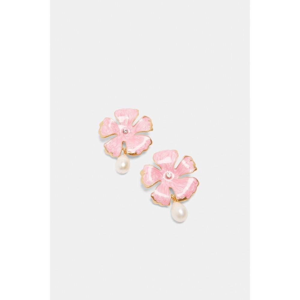 Zara Flower Earrings With Pearl Detail