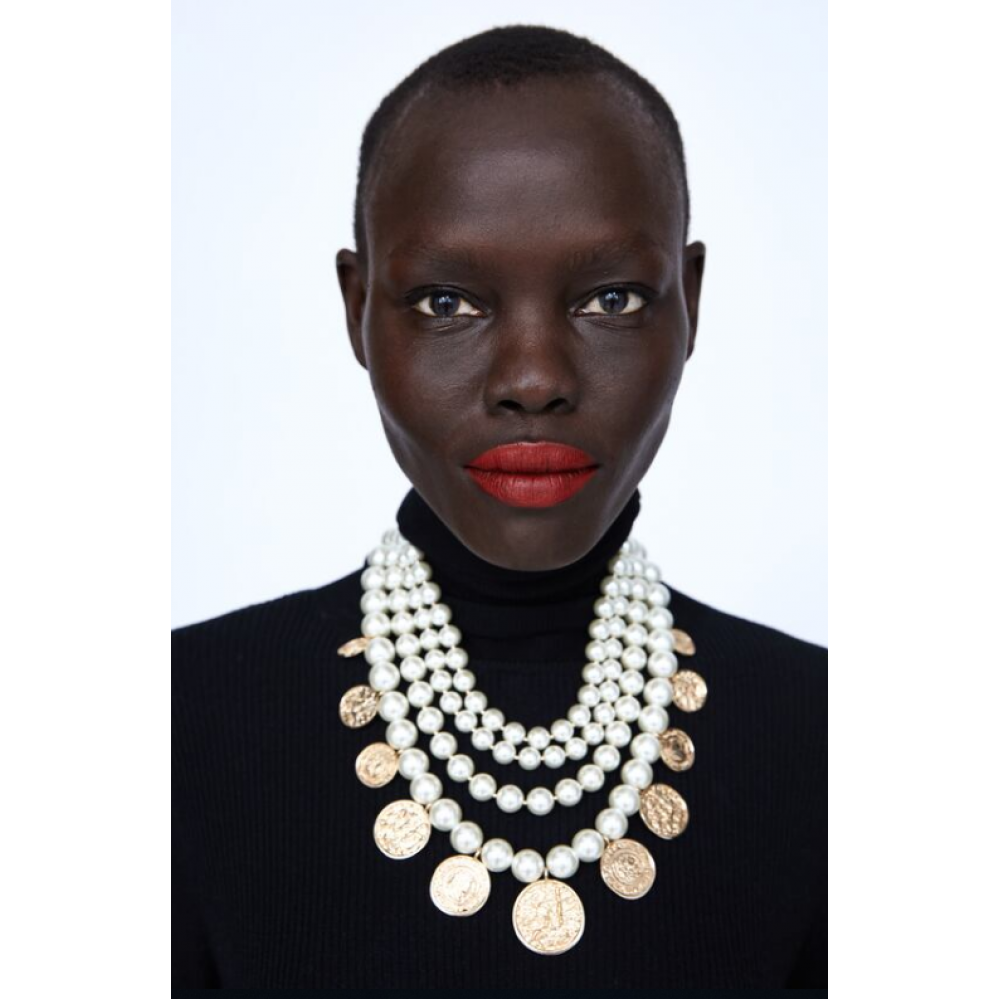 Zara Pearl Bead And Coin Necklace