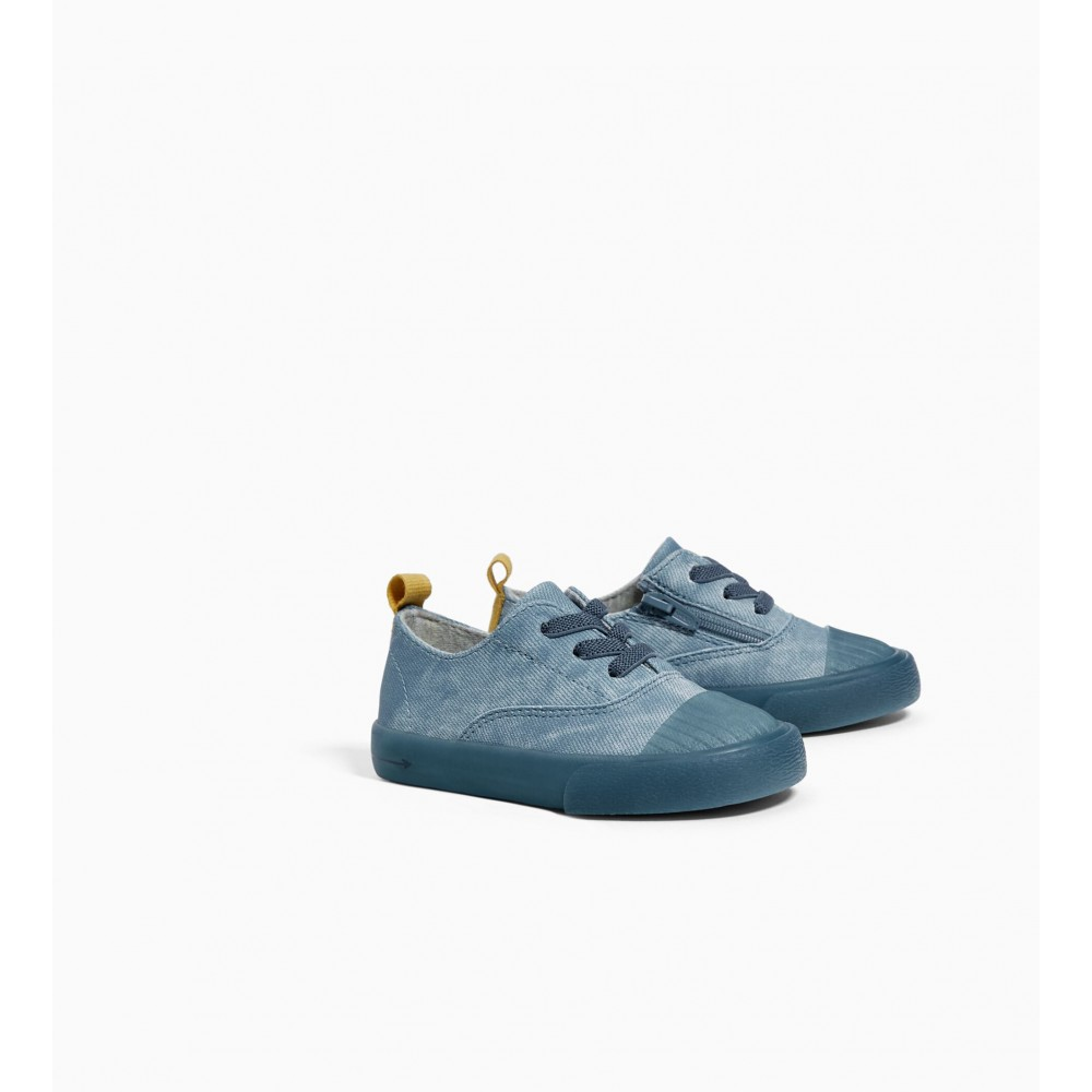 Zara Blue Lace-Up Sneakers