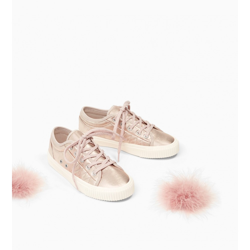 Zara Metallic Sneakers With Applique