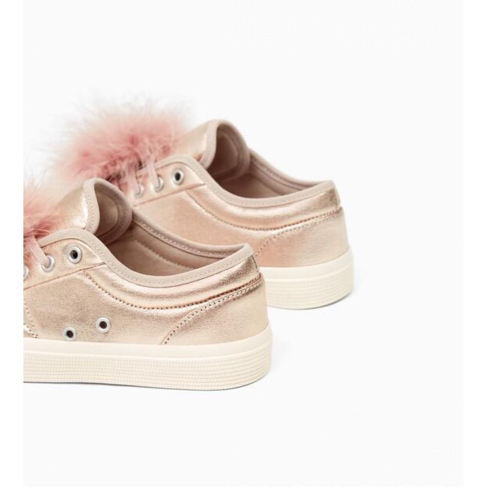 Zara Metallic Sneakers With Applique