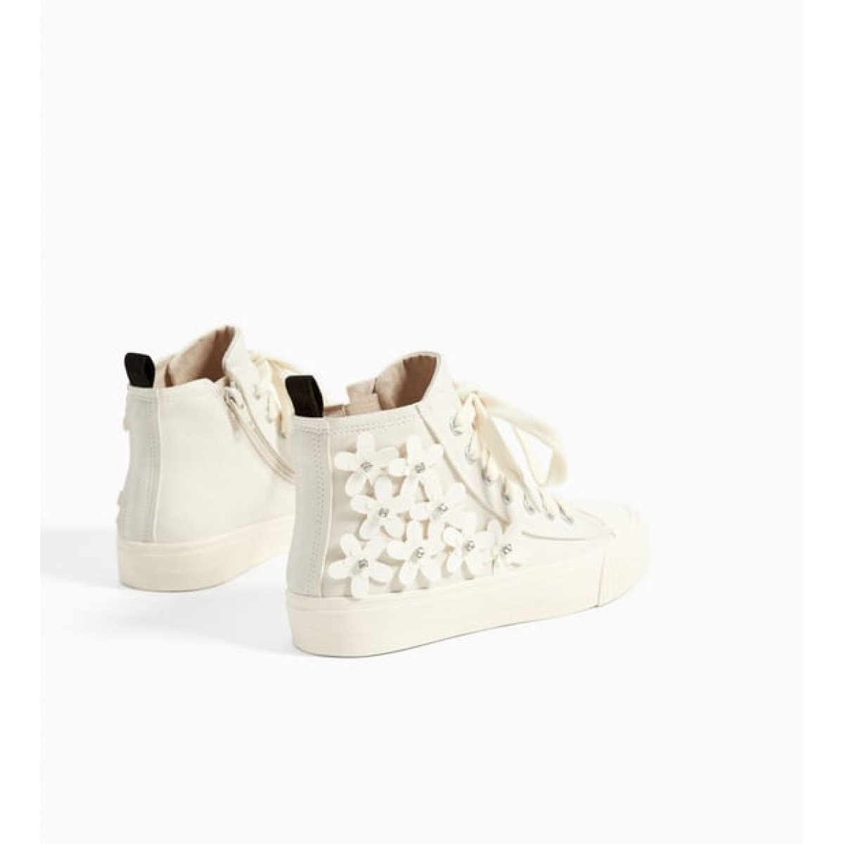 Zara High Top Sneakers With Flowers Detail