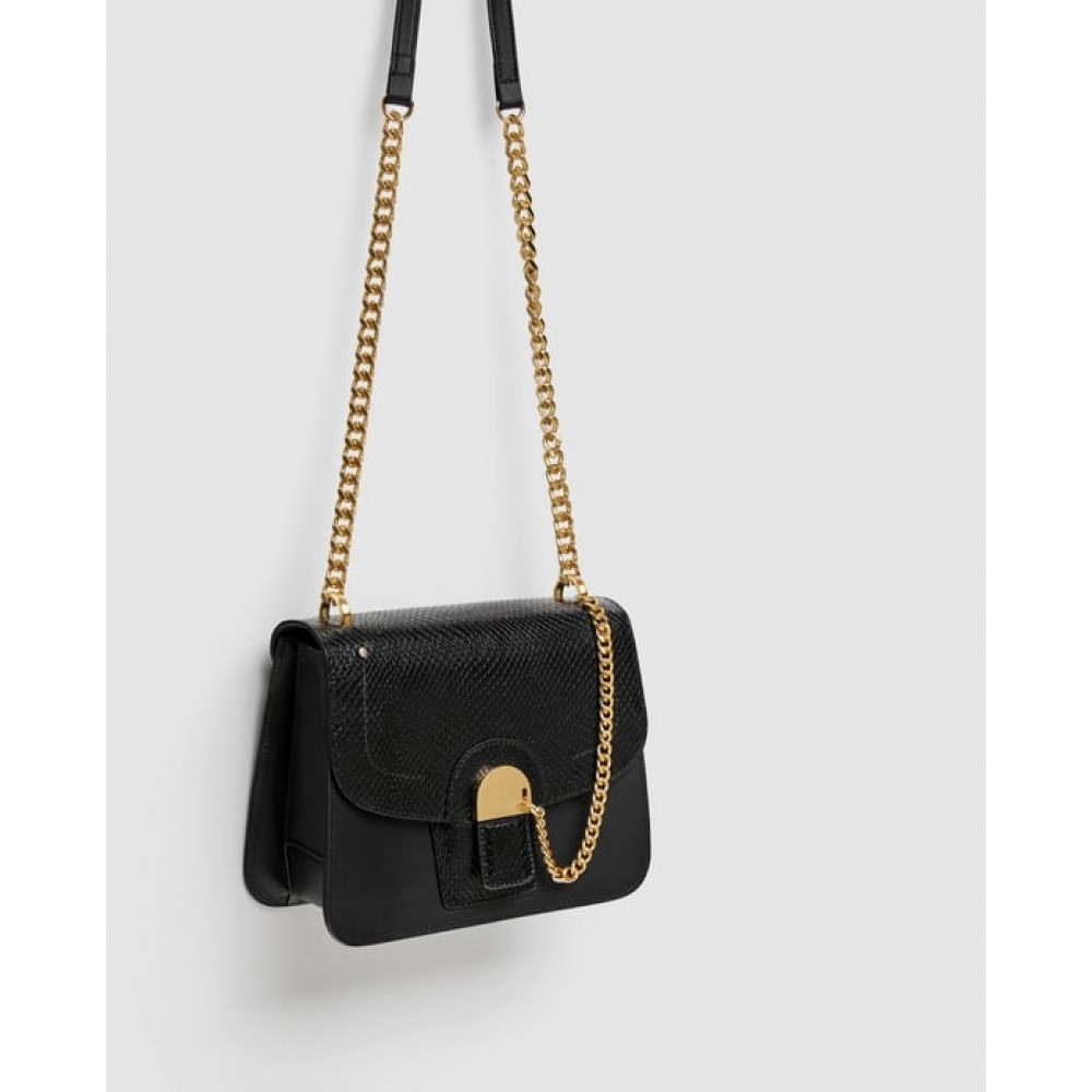 Zara Leather Crossbody Bag With Chain