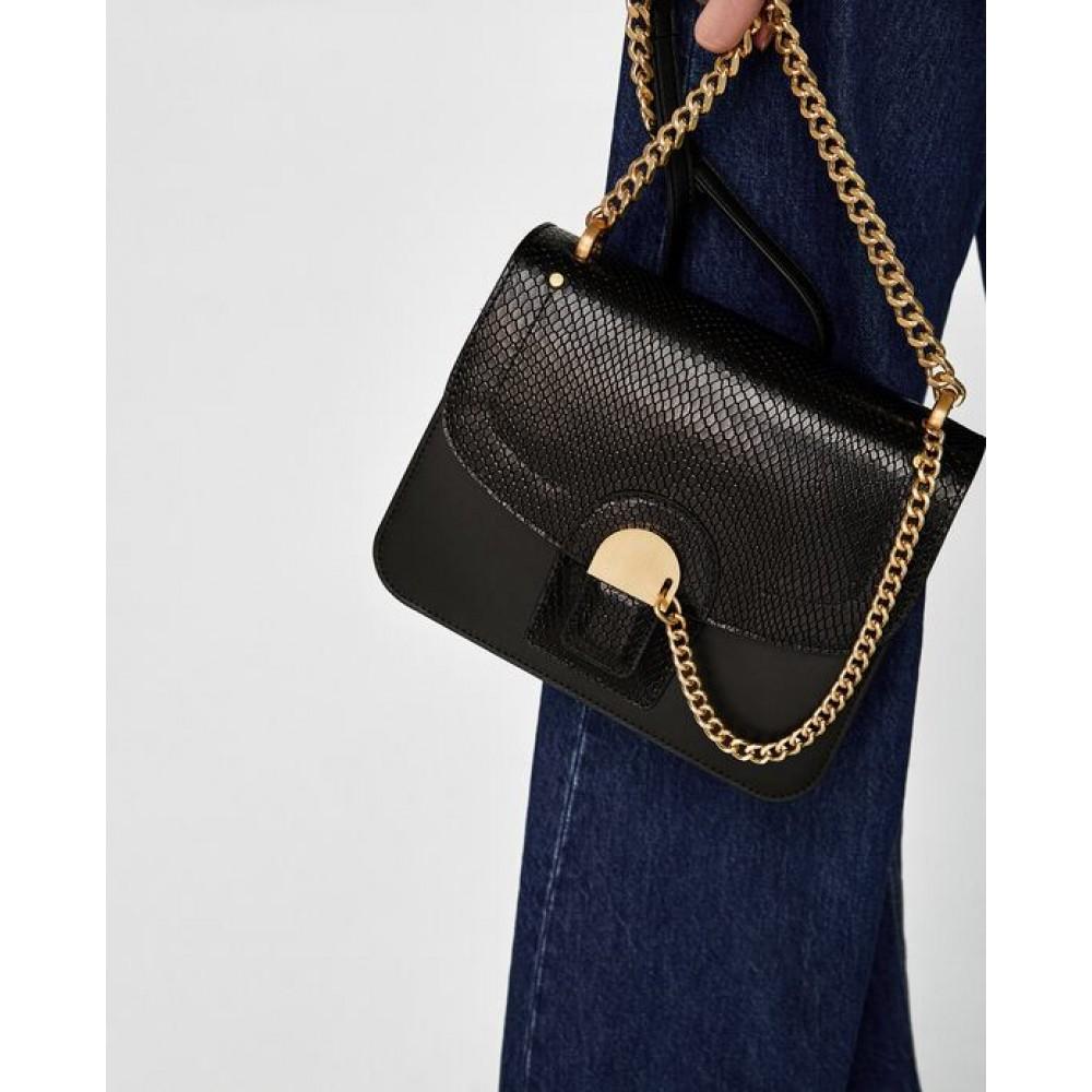 Zara Leather Crossbody Bag With Chain