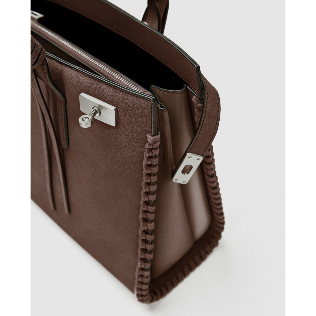 Zara Earth City Bag With Stitched Detailing Leather