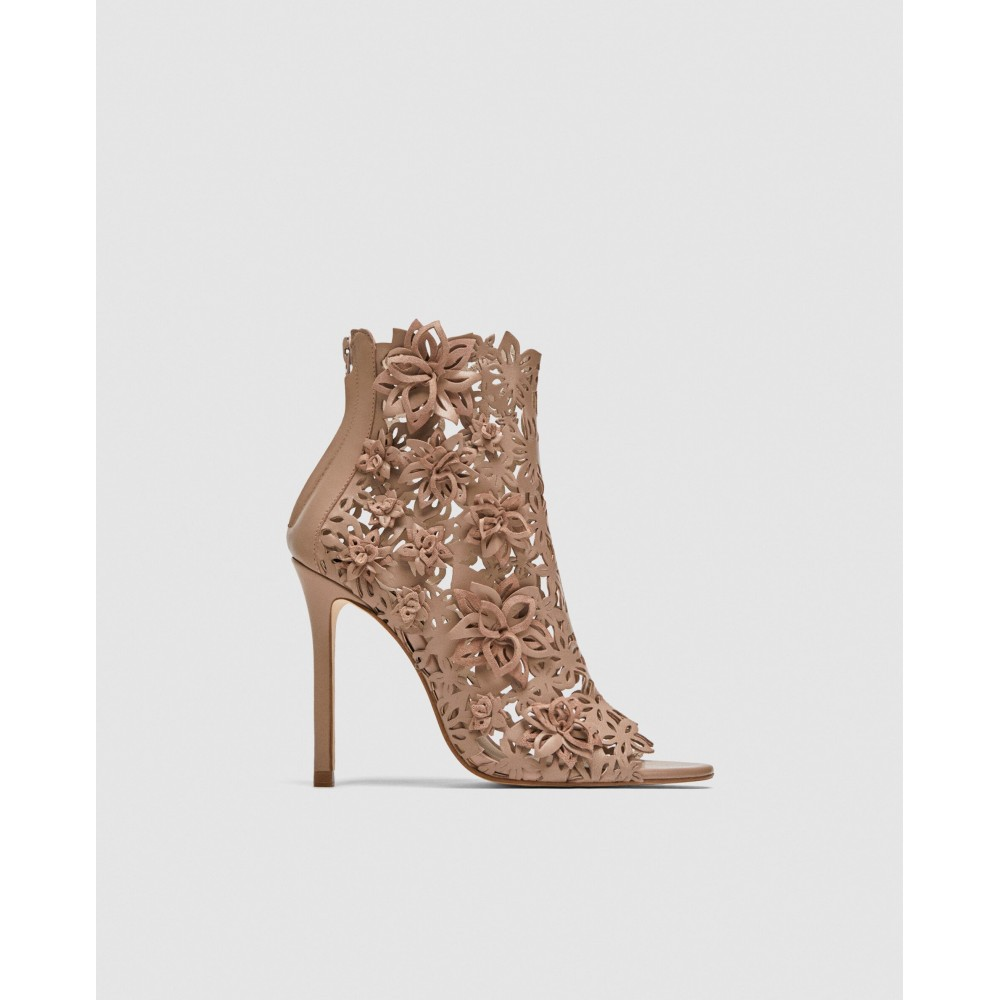 Zara Wraparound Leather High-Heel Sandals With Flowers
