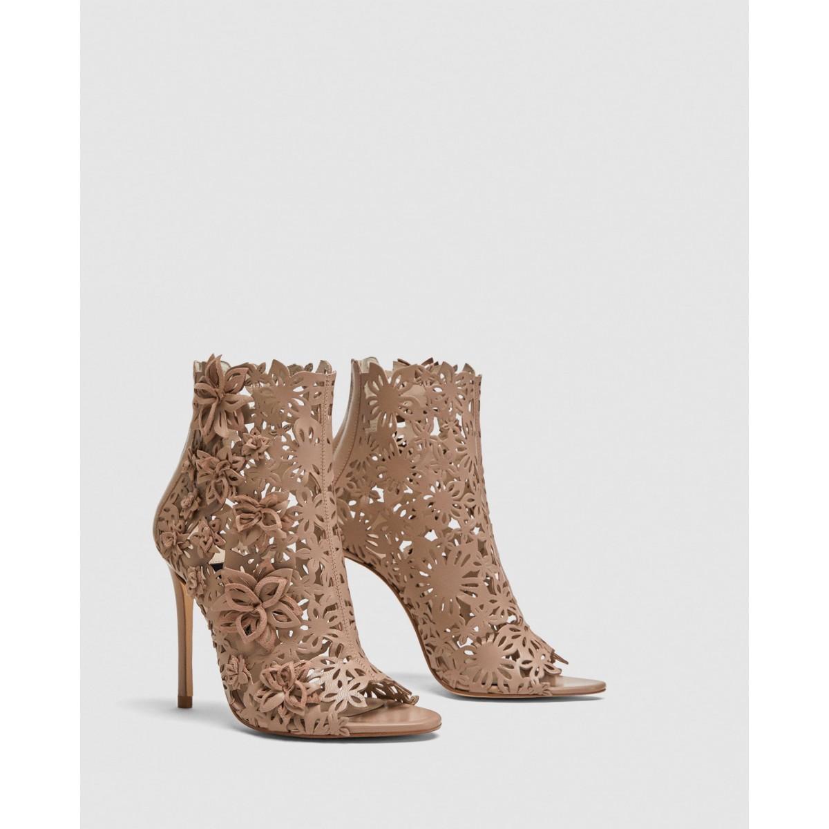 Zara Wraparound Leather High-Heel Sandals With Flowers
