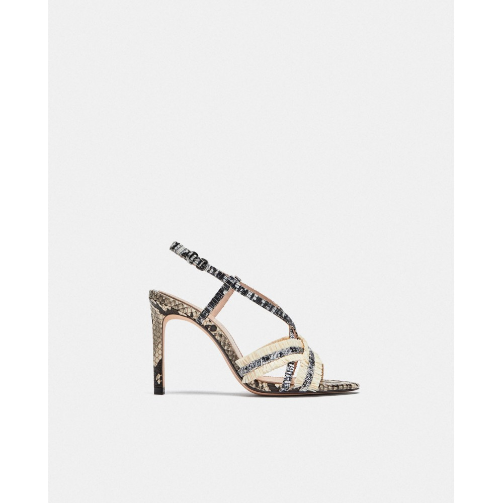 Zara Leopard Print Leather Sandals