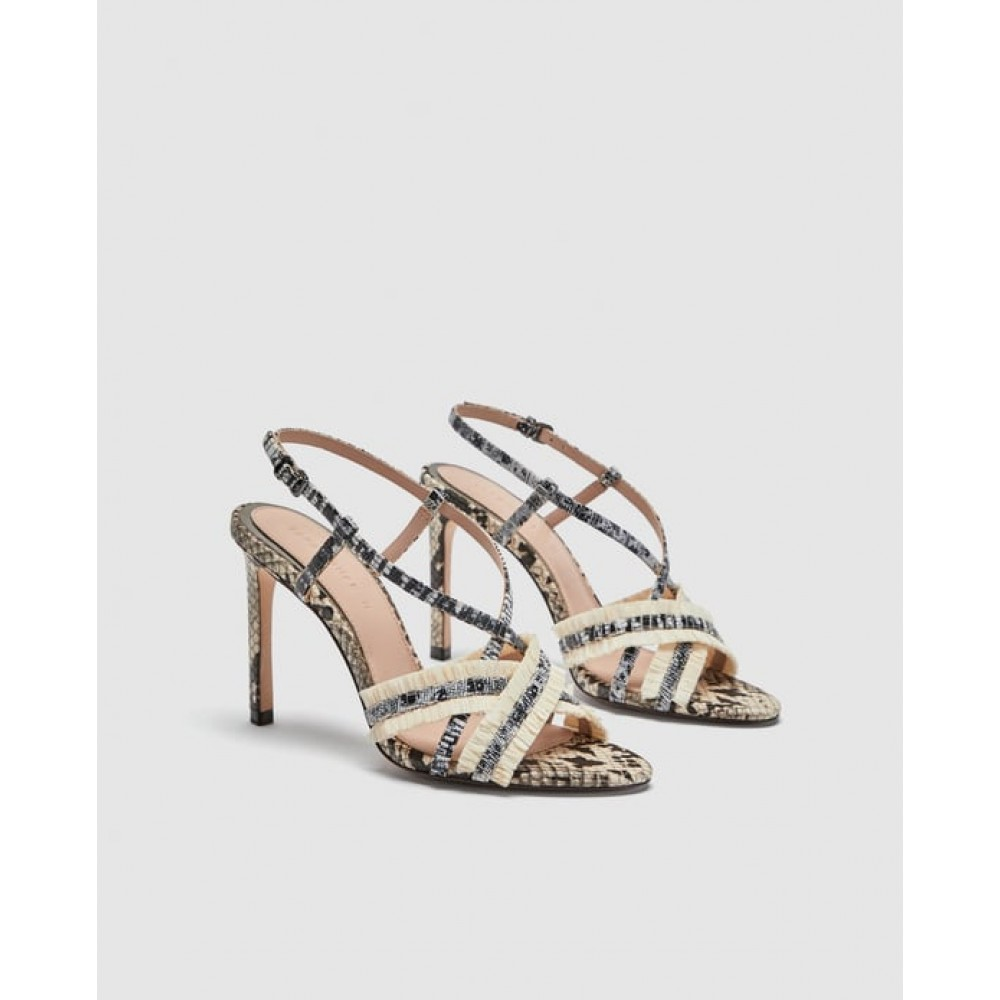 Zara Leopard Print Leather Sandals