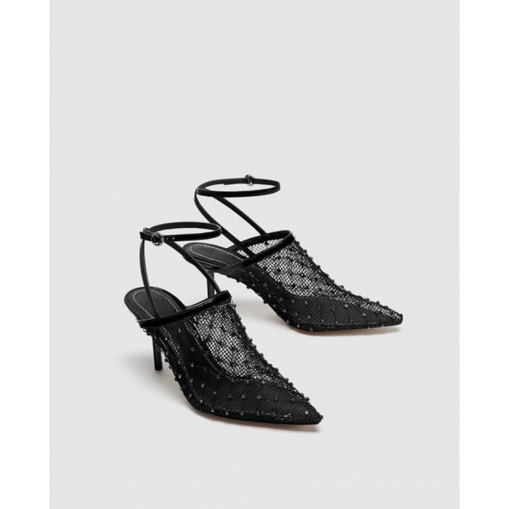 Zara Mesh Mid Heel Slingback Shoes