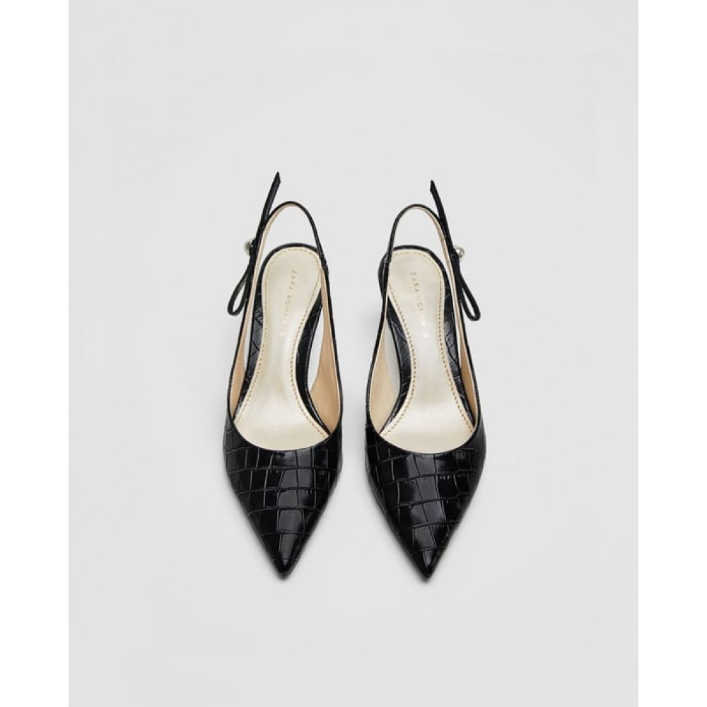 Zara Slingback Leather High Heel Court Shoes