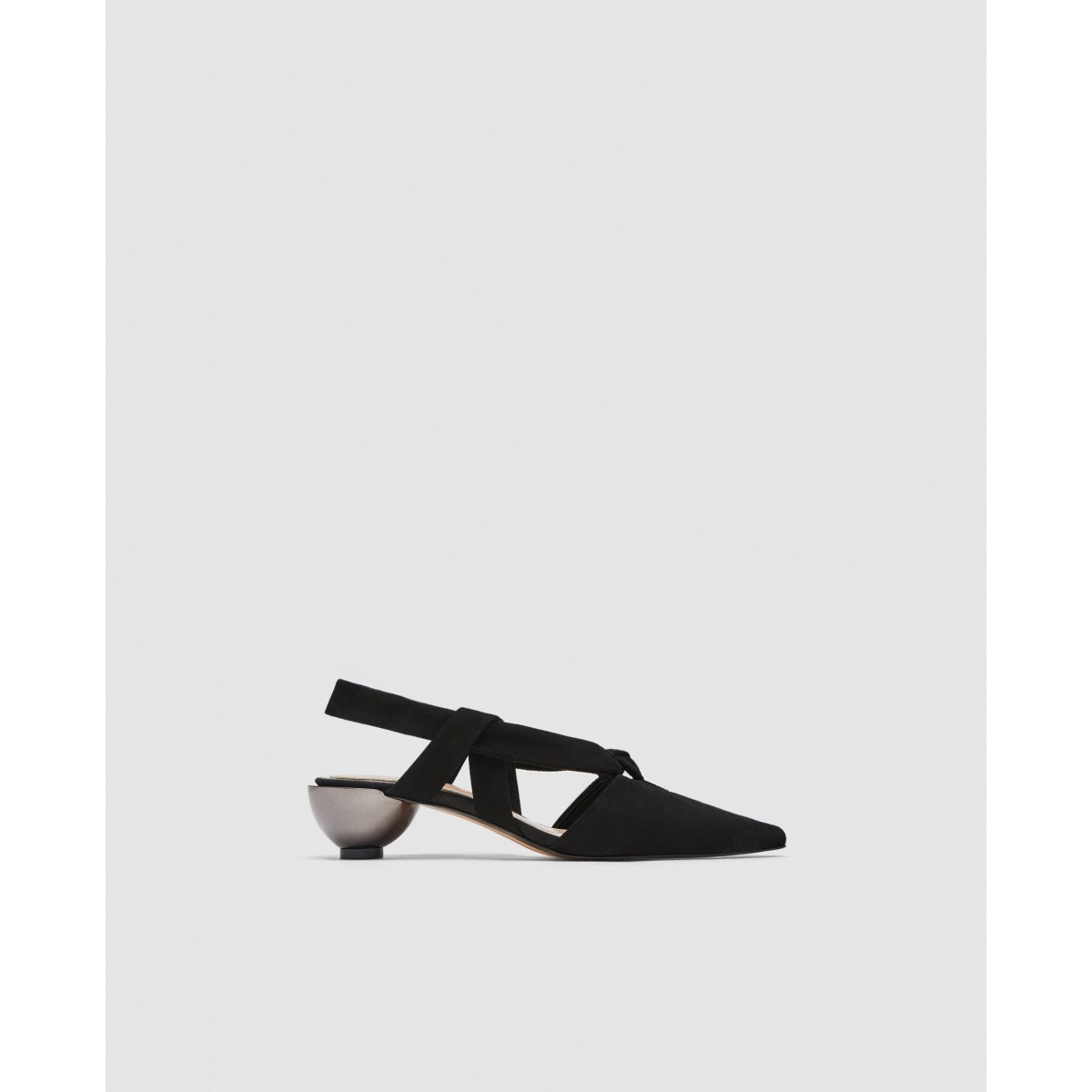 Zara Leather Slingback Shoes With Rounded Heels