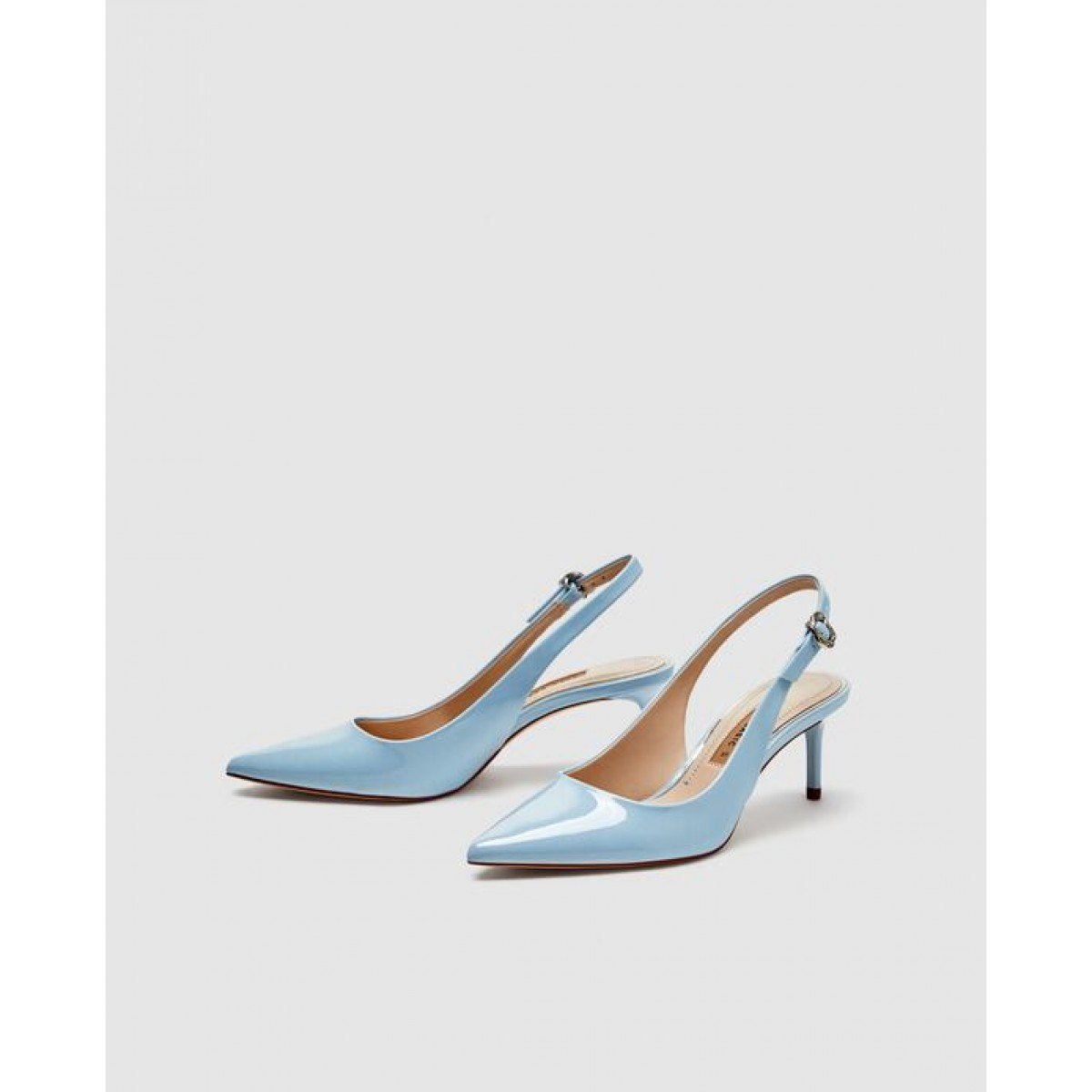 Zara Slingback Court Shoes With Elastic Strap