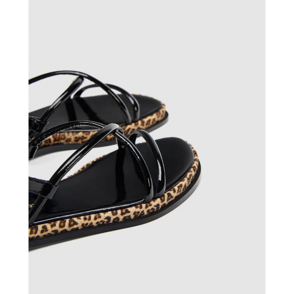 Zara Strappy Sandals With Leopard Print Detail