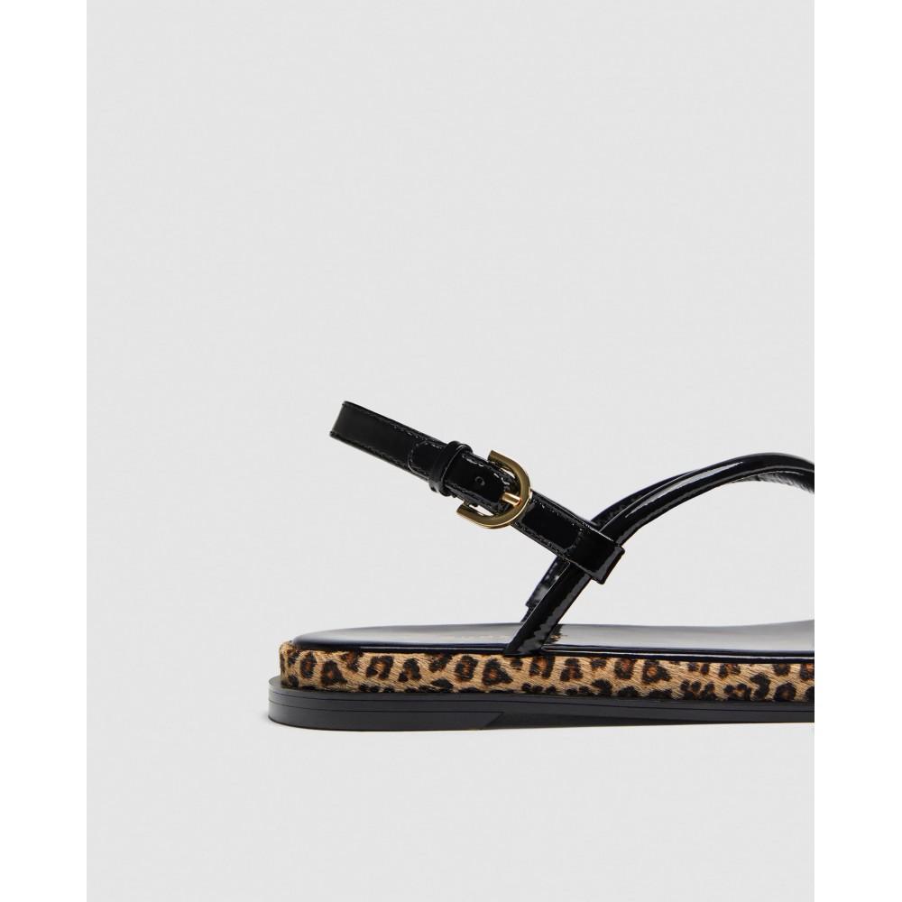 Zara Strappy Sandals With Leopard Print Detail