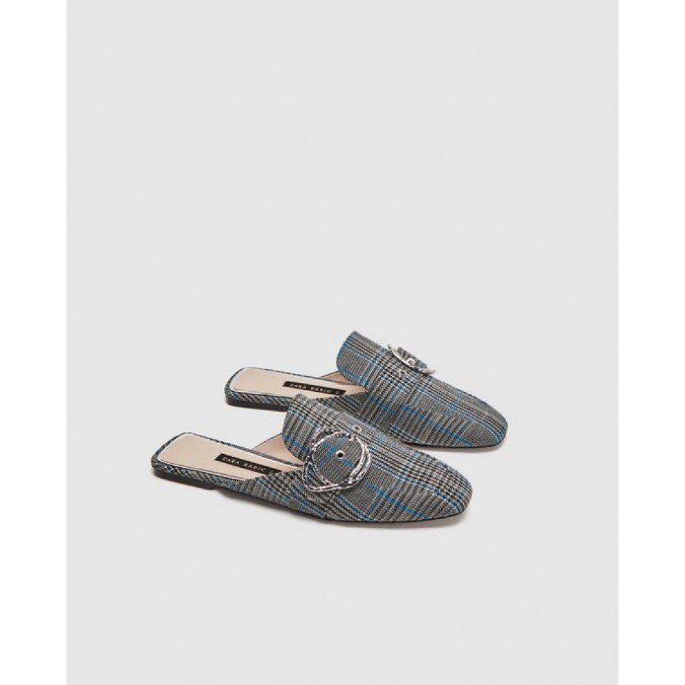 Zara Fabric Mules With Buckle