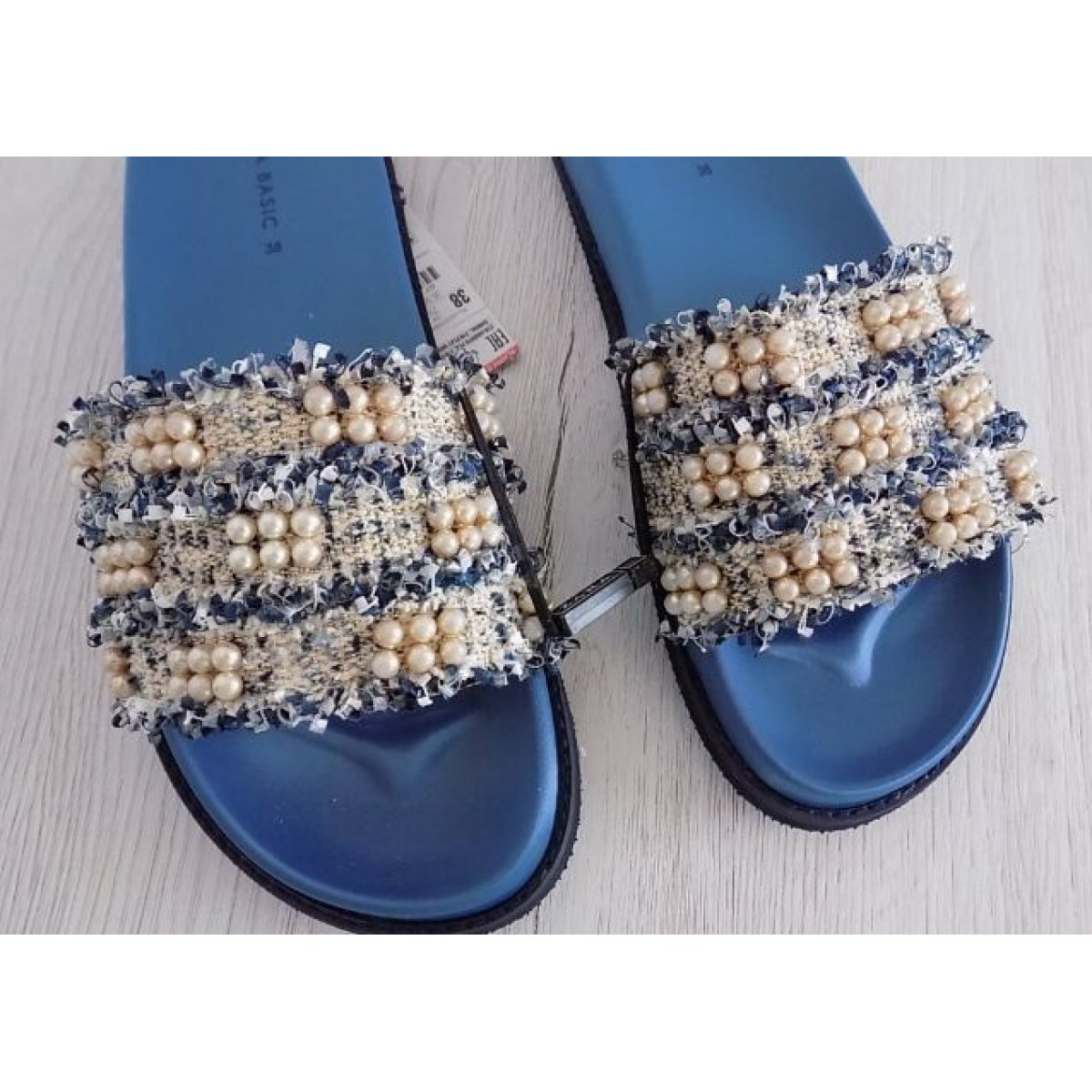 Zara Fabric Slides With Faux Pearls