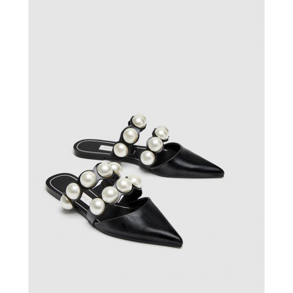 Zara Flat Mules With Pearl Beads