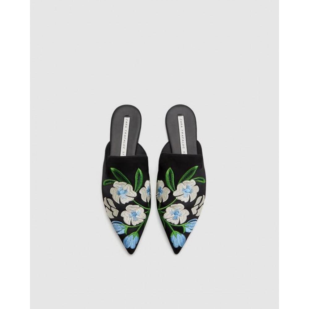 Zara Embroidered Mules