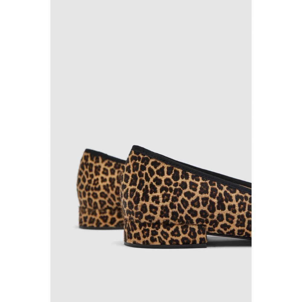 Zara Printed Leather Ballerinas
