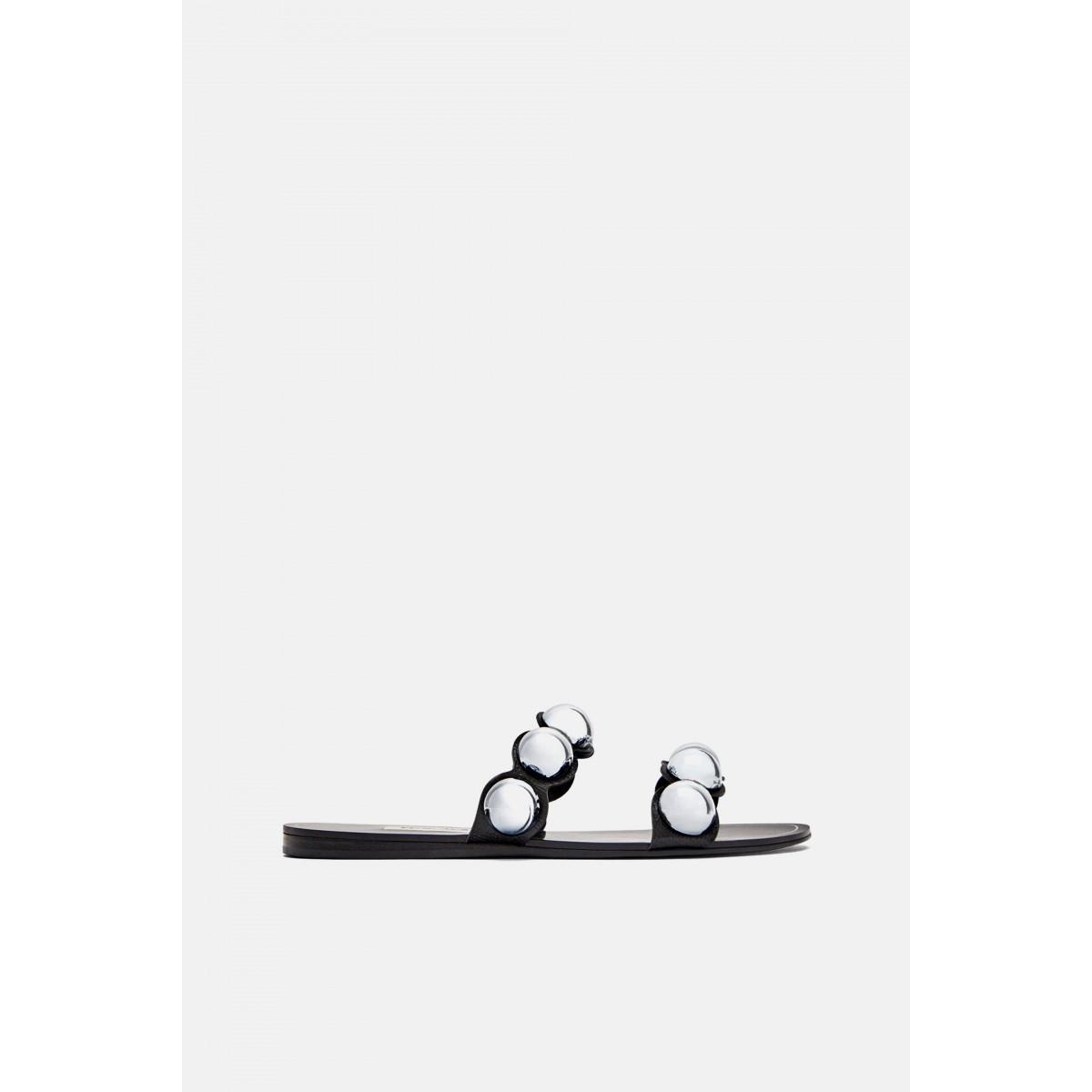Zara Slides With Metallic Detail