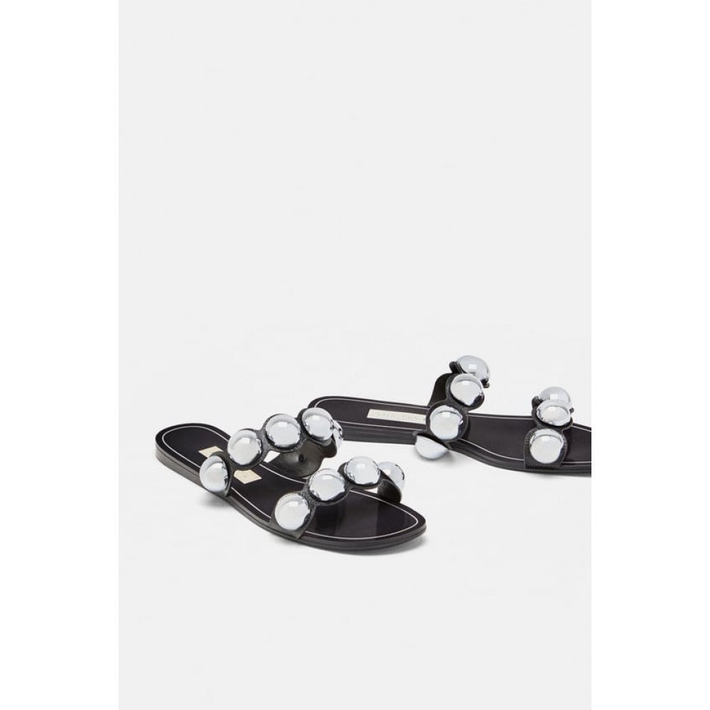 Zara Slides With Metallic Detail