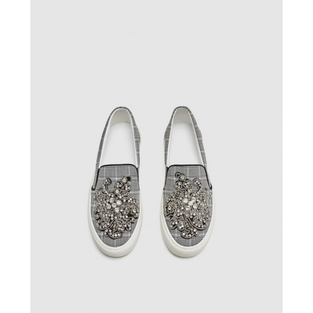 Zara Beaded Fabric Sneakers