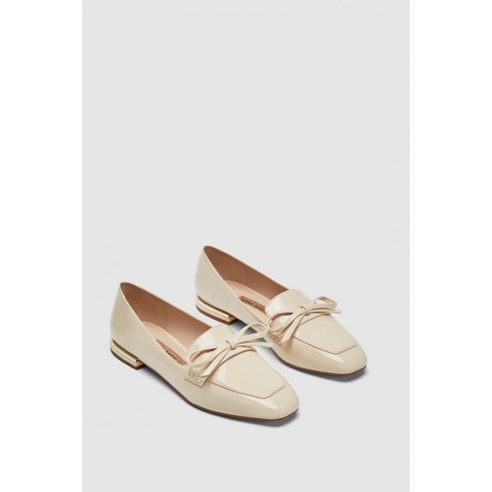 Zara Faux Patent Leather Loafers With Bow Detail