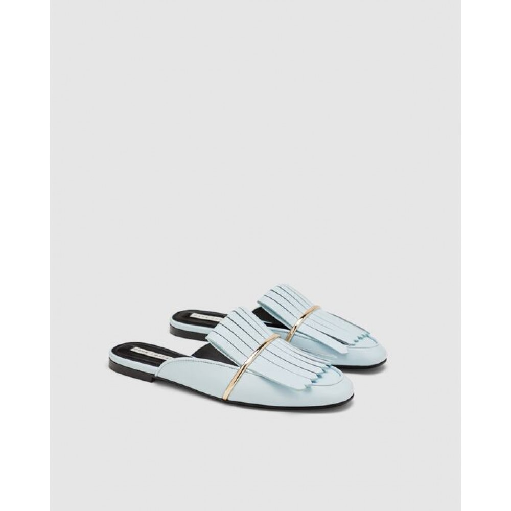 Zara Flat Mules With Fringed Detail