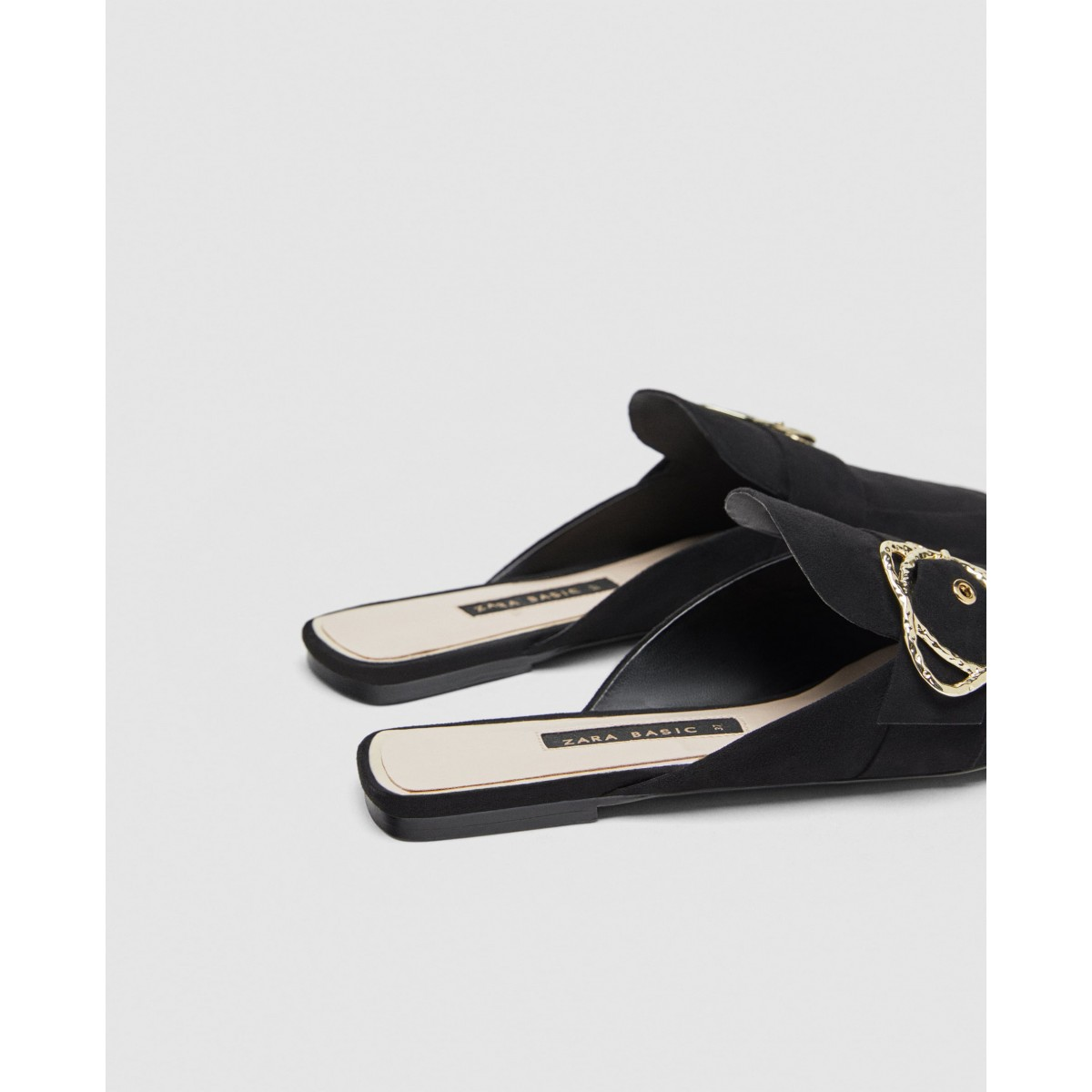 Zara Flat Mules With Buckle Detail