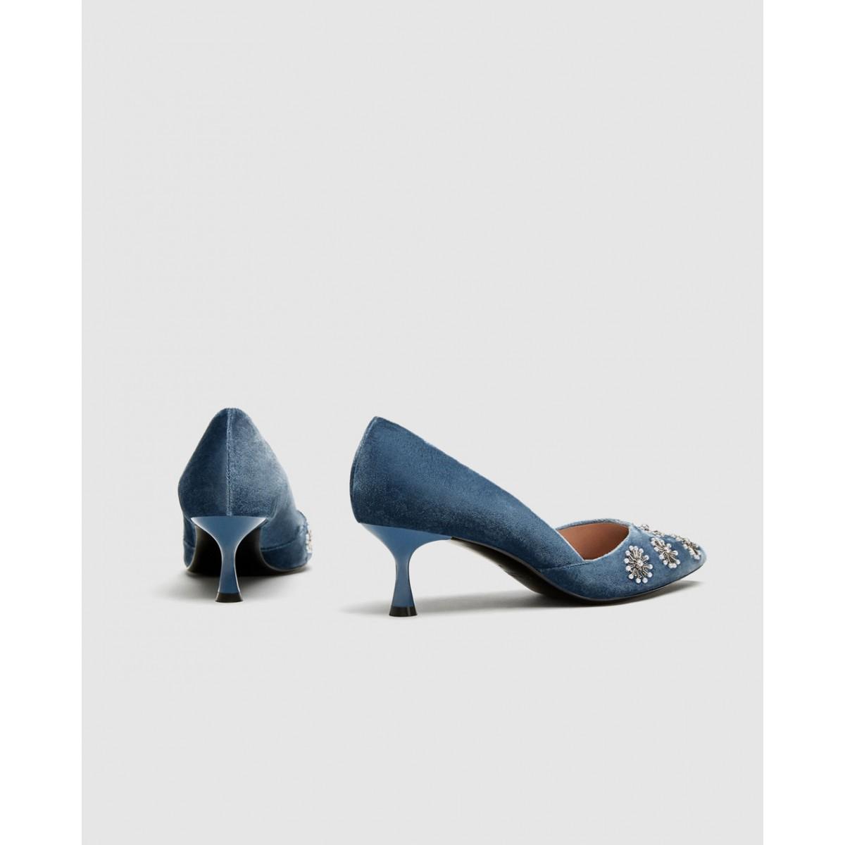 Zara Embroidered Velvet Kitten-Heel Court Shoes