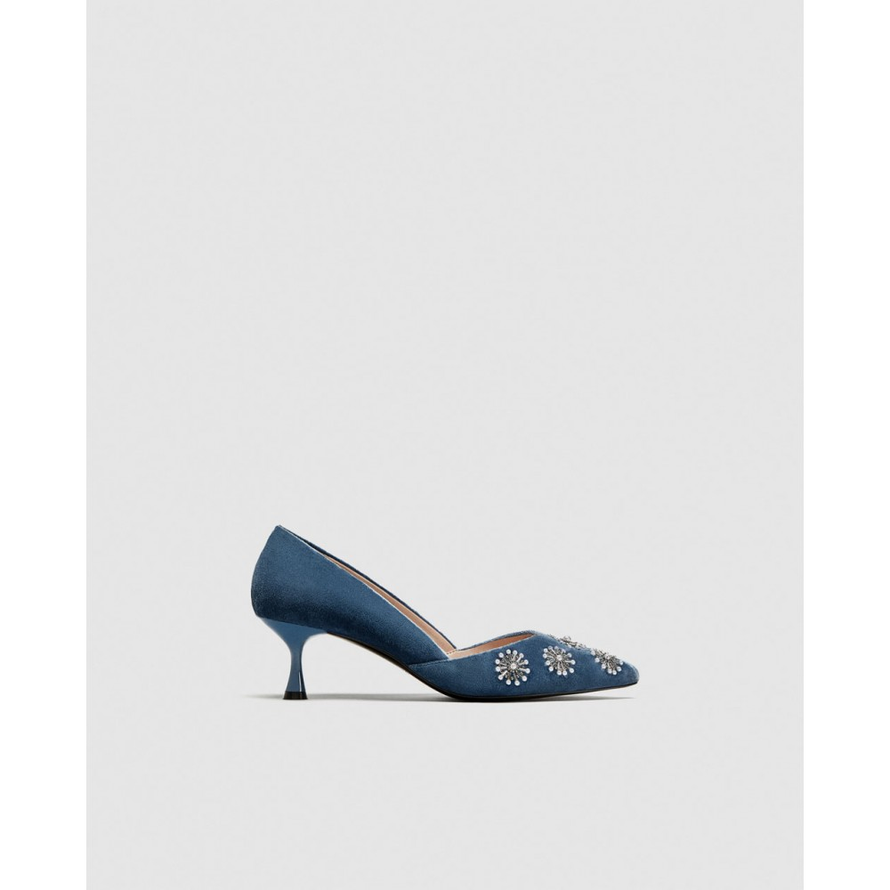 Zara Embroidered Velvet Kitten-Heel Court Shoes