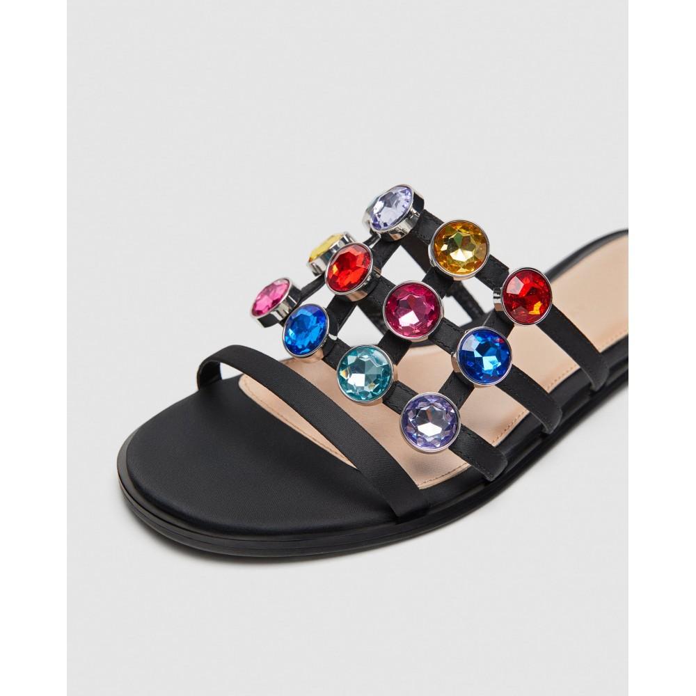 Zara Slides With Multicoloured Bejewelled Detailing