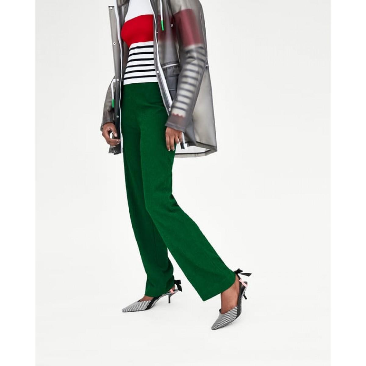 Zara Striped Mid Heel Slingback Shoes