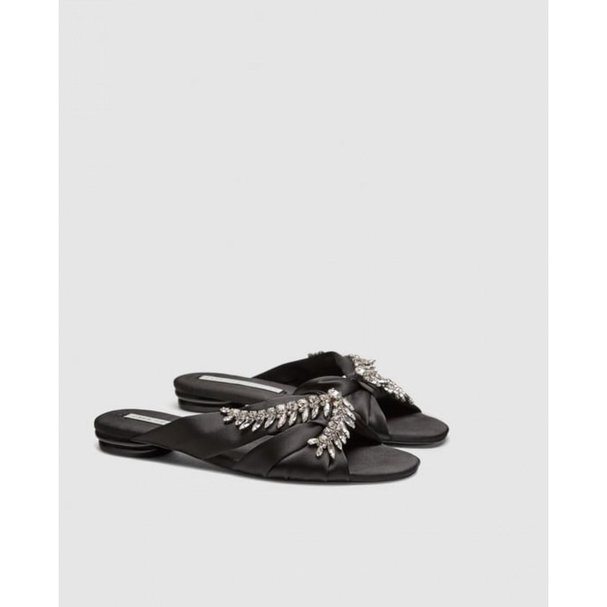 Zara Satin Slides With Detail