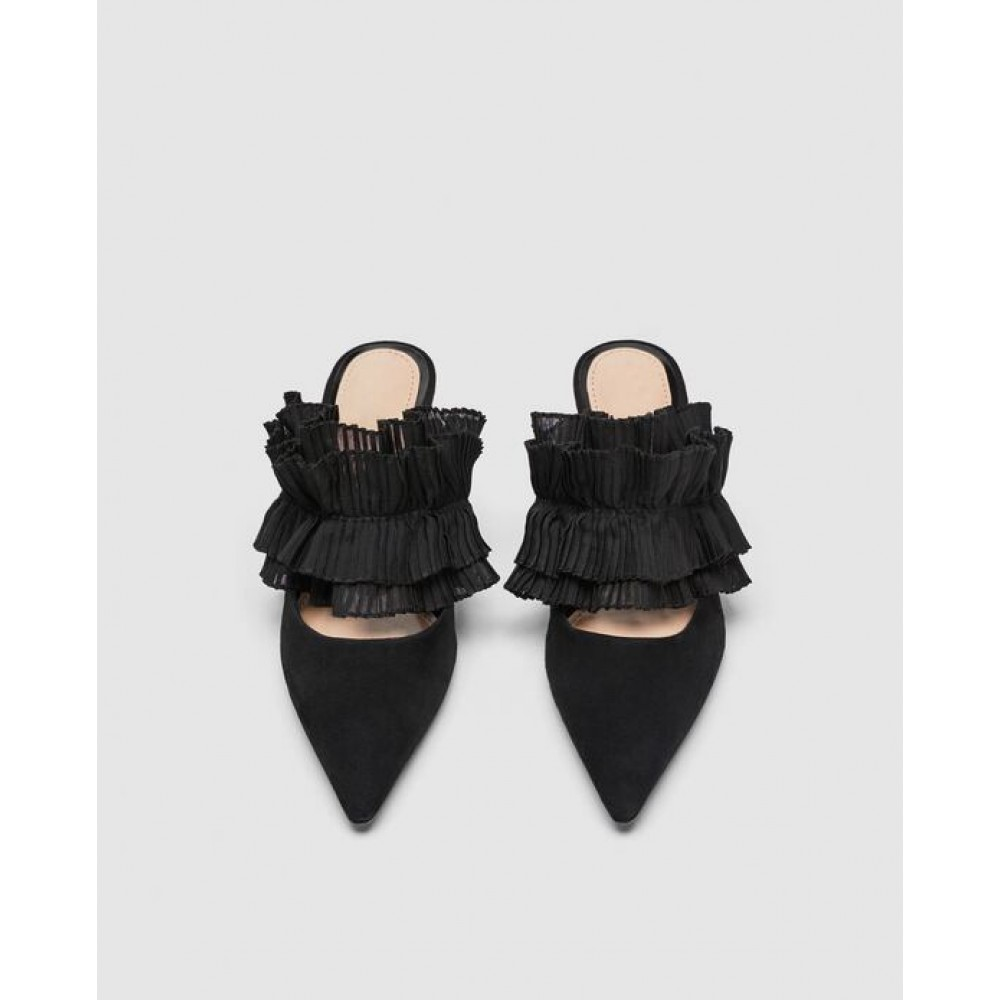 Zara Leather Mule Court Shoes With Ruffles