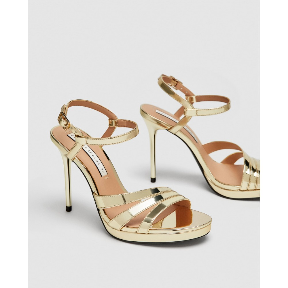 Zara Golden High Heel Strappy Sandals