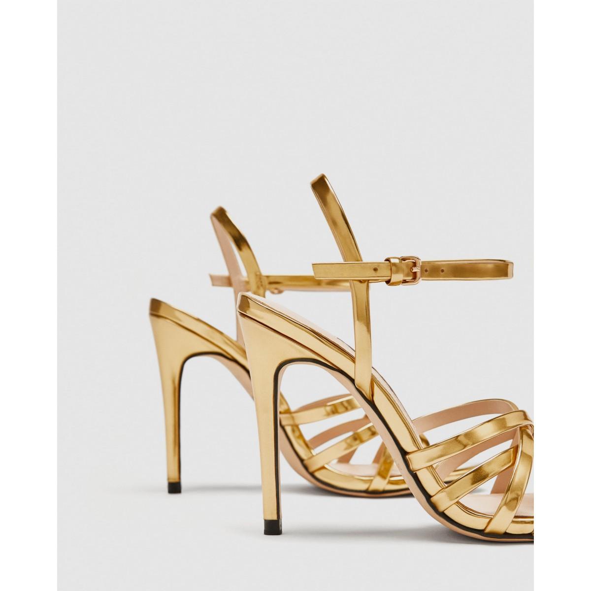 Zara Laminated Strappy Sandal