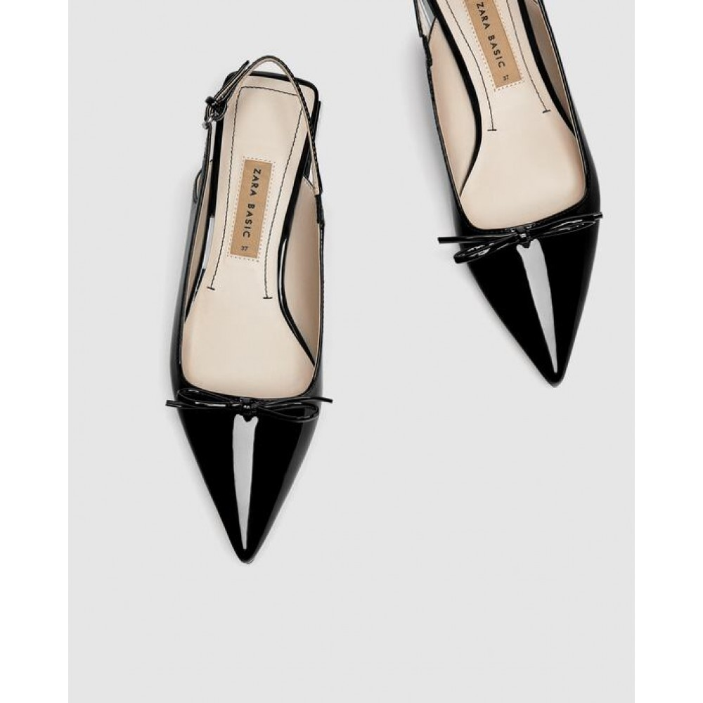 Zara Flat Slingback Shoes With Bow Detail